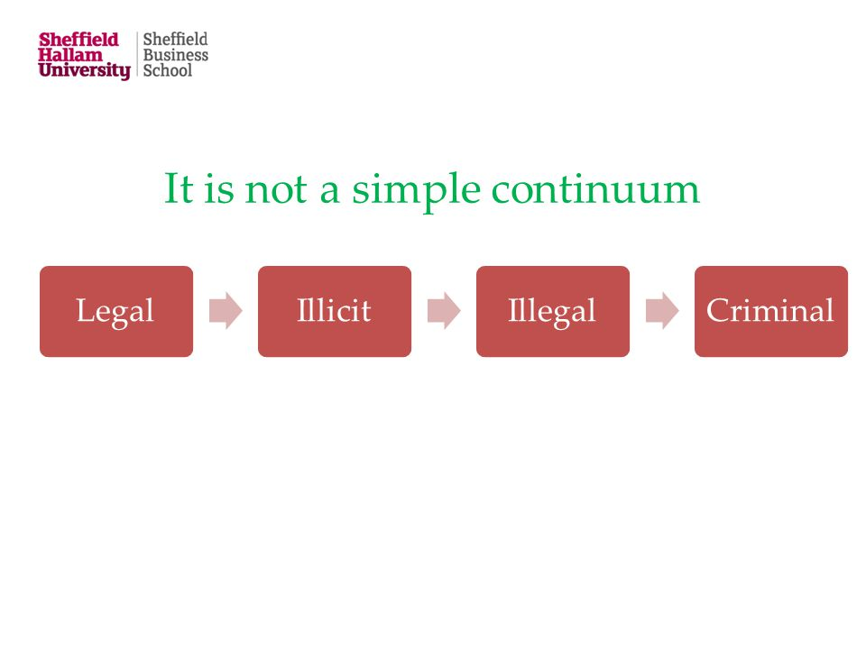 It is not a simple continuum LegalIllicitIllegalCriminal