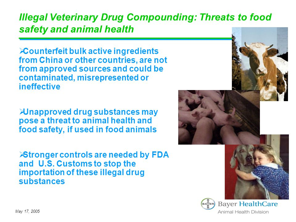 May 17, 2005 Illegal Veterinary Drug Compounding: Threats to food safety and animal health  Counterfeit bulk active ingredients from China or other c