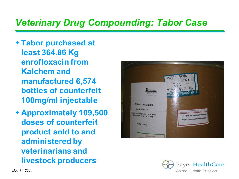 May 17, 2005 Veterinary Drug Compounding: Tabor Case  Tabor purchased at least 364.86 Kg enrofloxacin from Kalchem and manufactured 6,574 bottles of