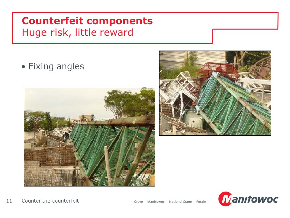 Counter the counterfeit11 Counterfeit components Huge risk, little reward Fixing angles