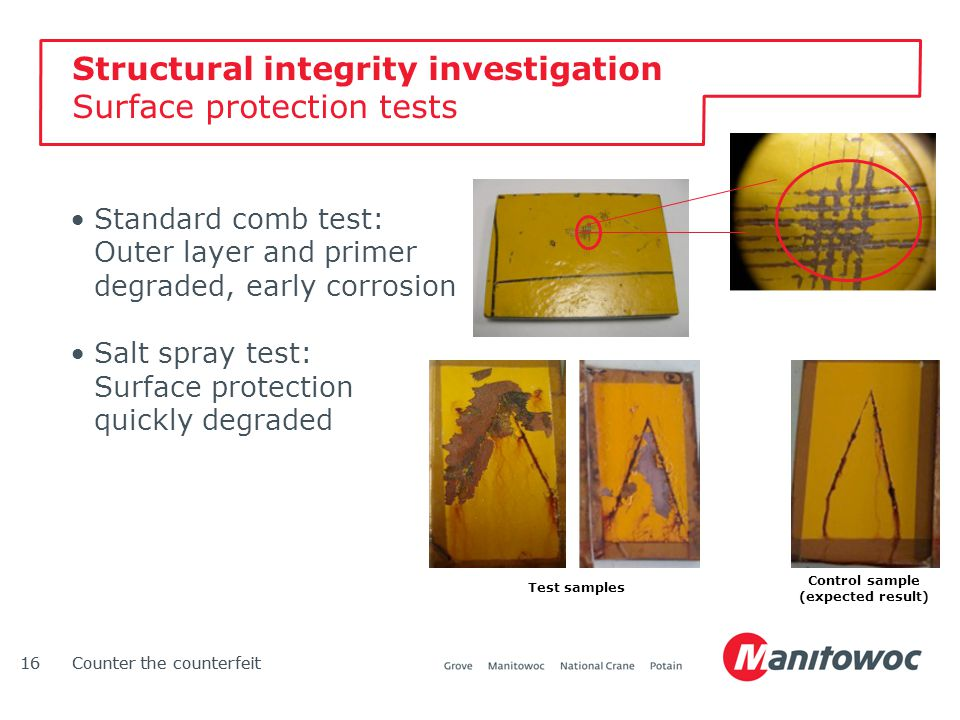 Counter the counterfeit16Counter the counterfeit16 Structural integrity investigation Surface protection tests Standard comb test: Outer layer and pri