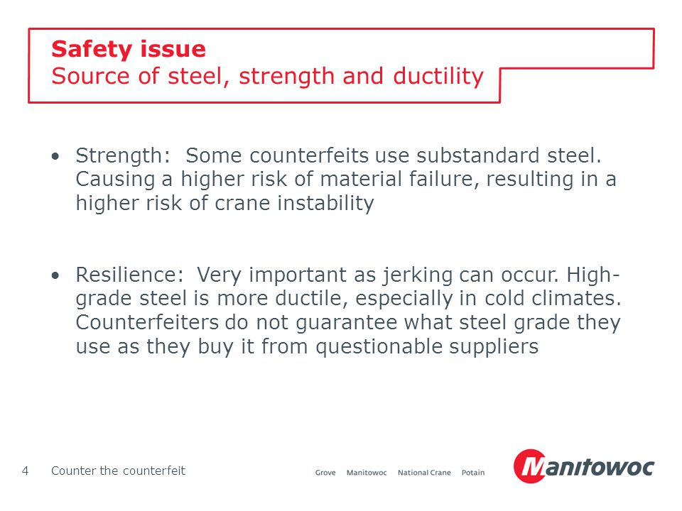 Counter the counterfeit4 Strength: Some counterfeits use substandard steel. Causing a higher risk of material failure, resulting in a higher risk of c