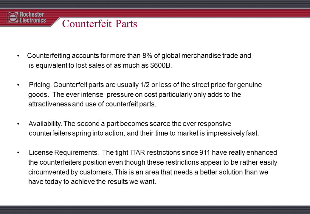 DEFINITION OF A COUNTERFEIT PART Substitutes or unauthorized copies of a product. A Product as defined by the manufacturers part number ID, date code
