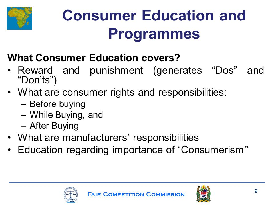Fair Competition Commission What Consumer Education covers.