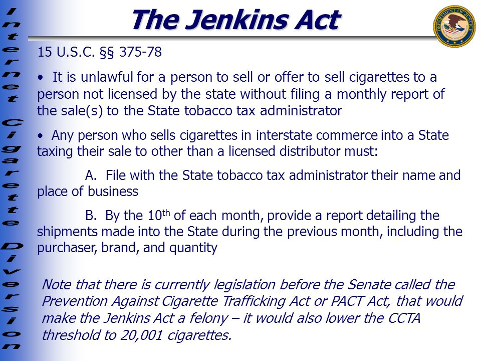 The Jenkins Act 15 U.S.C.