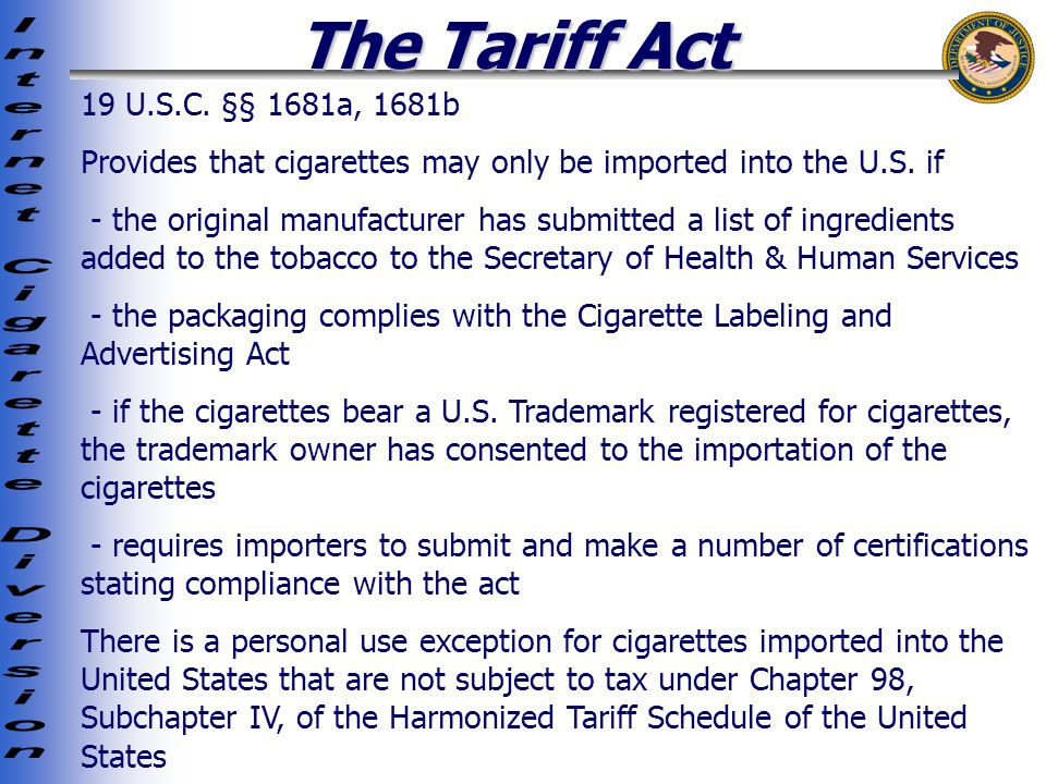 The Tariff Act 19 U.S.C.