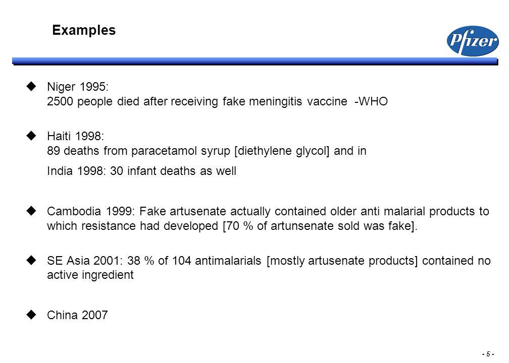 - 5 - Examples  Niger 1995: 2500 people died after receiving fake meningitis vaccine -WHO  Haiti 1998: 89 deaths from paracetamol syrup [diethylene