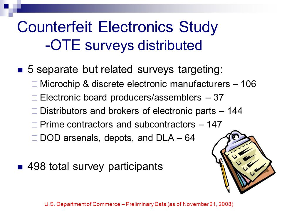 U.S. Department of Commerce – Preliminary Data (as of November 21, 2008) Counterfeit Electronics Study -OTE s urveys distributed 5 separate but relate
