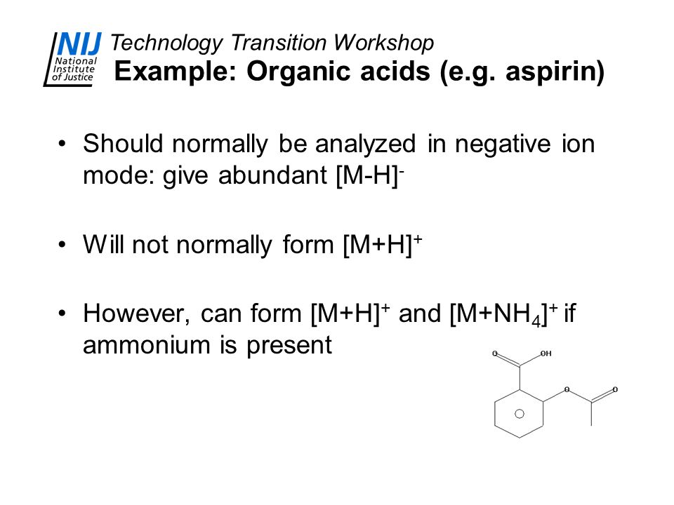 Technology Transition Workshop Example: Organic acids (e.g. aspirin) Should normally be analyzed in negative ion mode: give abundant [M-H] - Will not
