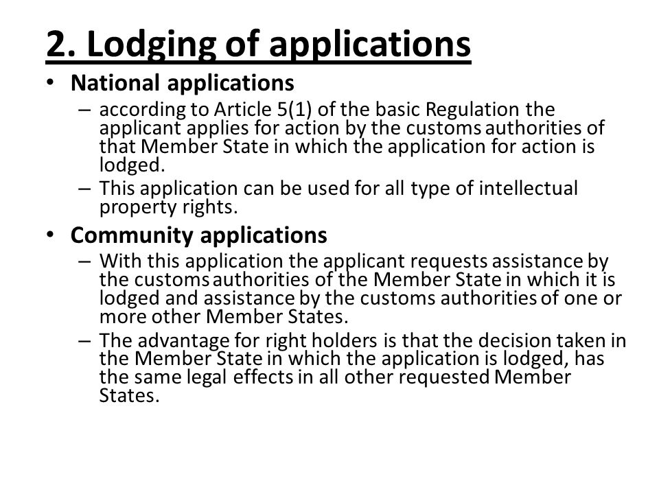 Community applications: National applications: 74/2010
