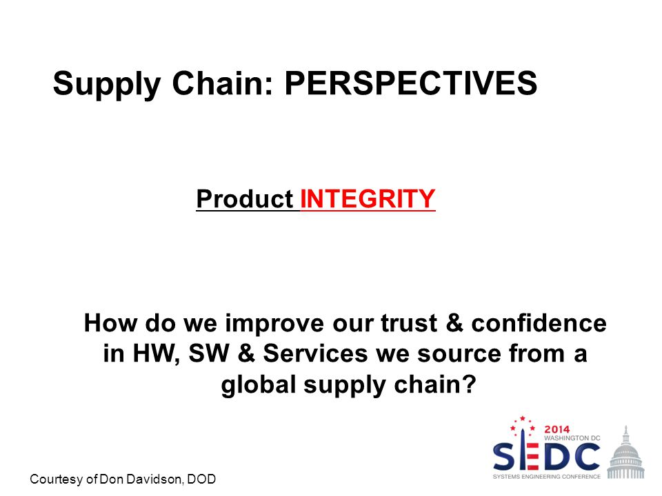 Supply Chain: PERSPECTIVES Product INTEGRITY How do we improve our trust & confidence in HW, SW & Services we source from a global supply chain? Court