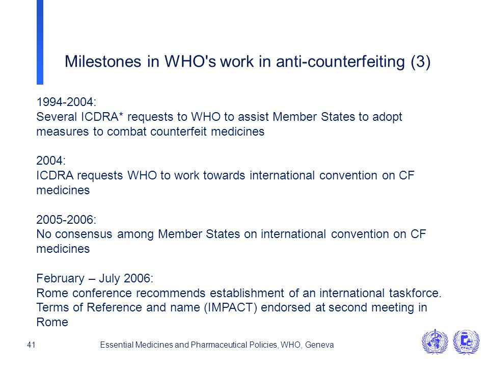41Essential Medicines and Pharmaceutical Policies, WHO, Geneva 1994-2004: Several ICDRA* requests to WHO to assist Member States to adopt measures to