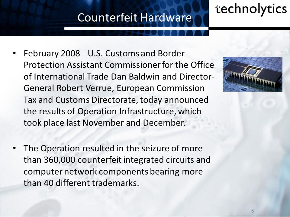 Counterfeit Hardware February 2008 The Feds have confiscated more than $75 million of counterfeit Cisco networking gear.