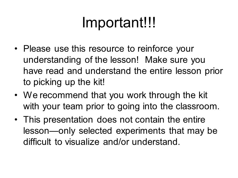 Important!!. Please use this resource to reinforce your understanding of the lesson.