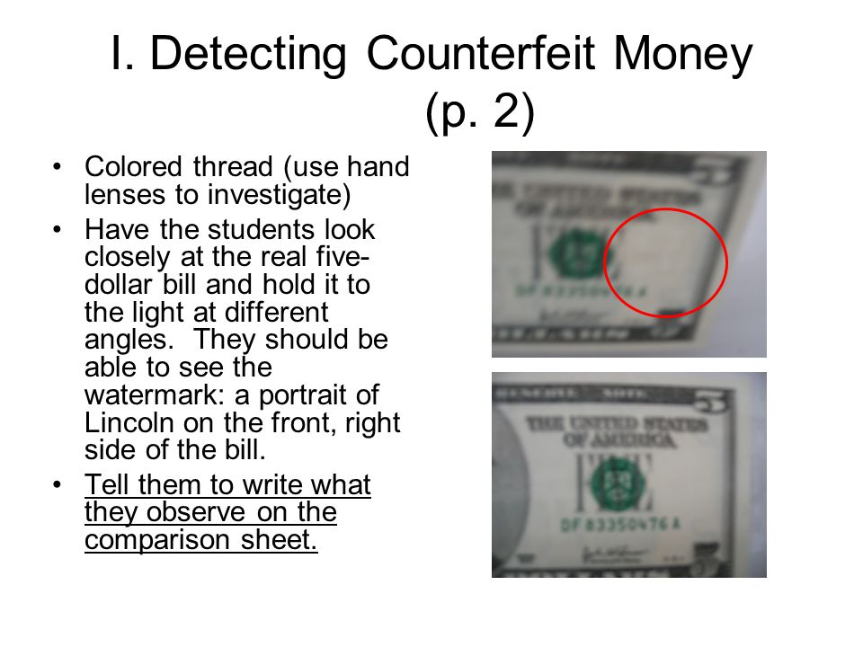 I. Detecting Counterfeit Money (p.