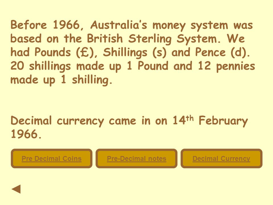 Before 1966, Australia's money system was based on the British Sterling System.