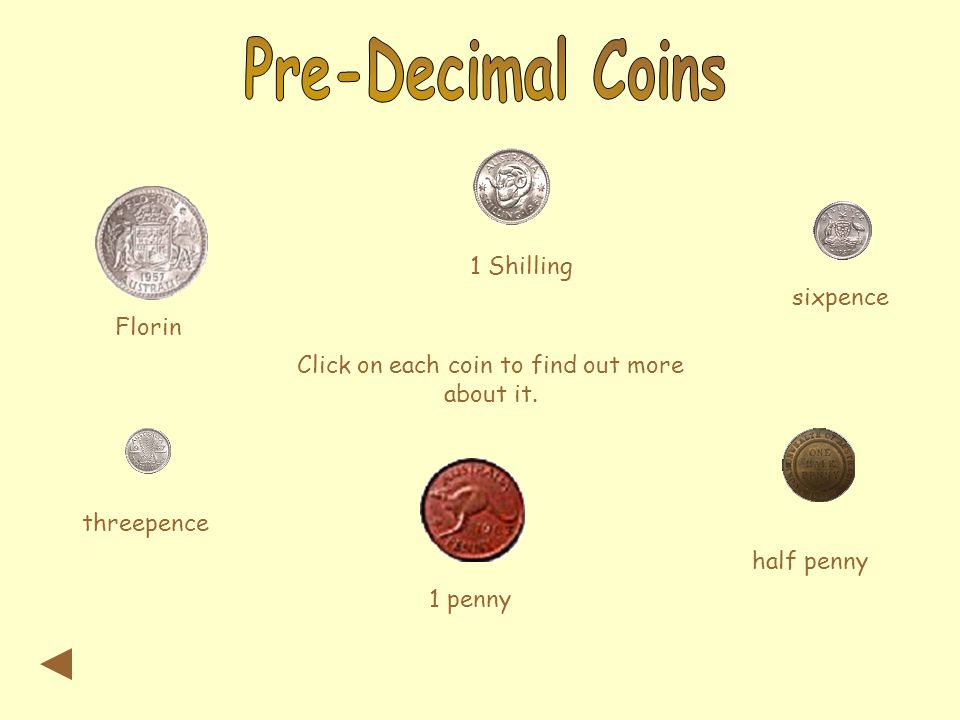 Florin 1 Shilling sixpence threepence 1 penny half penny Click on each coin to find out more about it.