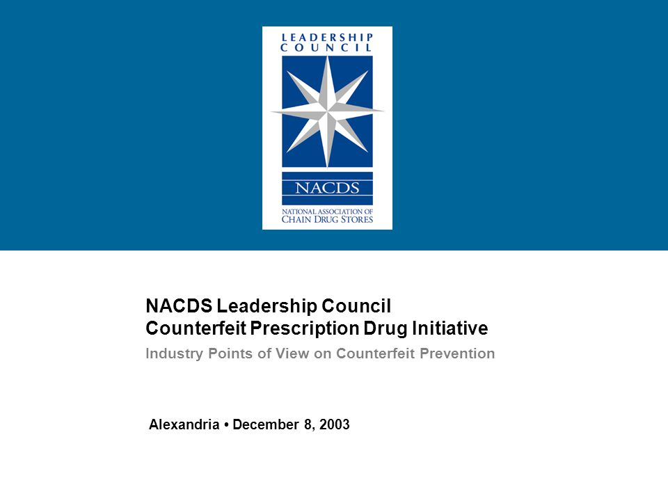 12 The NACDS Leadership Council initiated a two-phase effort to assemble an industry perspective on policy and technology solutions for preventing prescription drug counterfeiting.