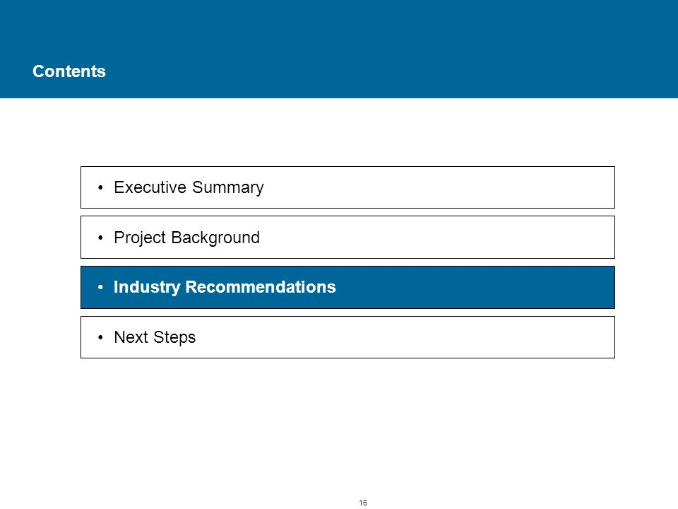 16 Contents Executive Summary Project Background Industry Recommendations Next Steps
