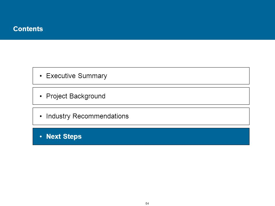 64 Contents Executive Summary Project Background Industry Recommendations Next Steps