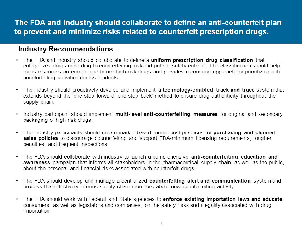 40 Licensing and channel policy recommendations call for FDA minimum licensing requirements, more inspections, increased penalties and model best practices for purchasing and channel sales.