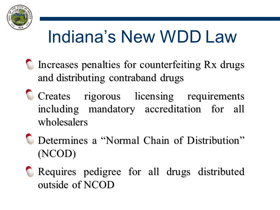 Indiana's New WDD Law Increases penalties for counterfeiting Rx drugs and distributing contraband drugs Creates rigorous licensing requirements includ