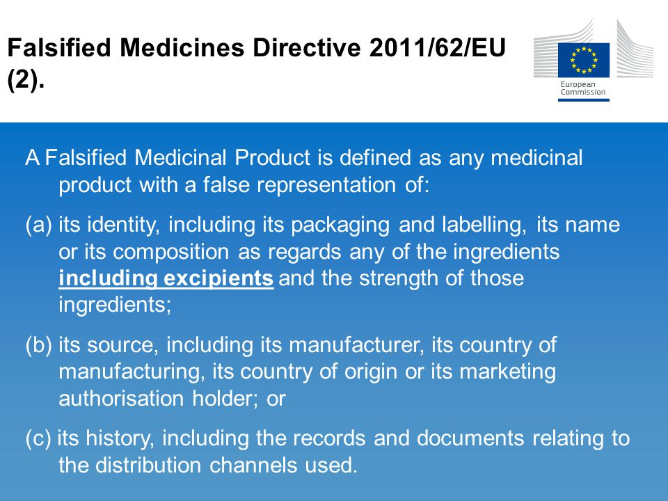 Falsified Medicines Directive 2011/62/EU (2). A Falsified Medicinal Product is defined as any medicinal product with a false representation of: (a) it