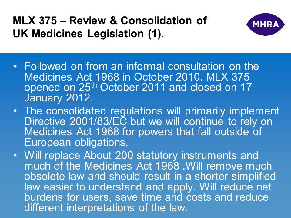 MLX 375 – Review & Consolidation of UK Medicines Legislation (2).