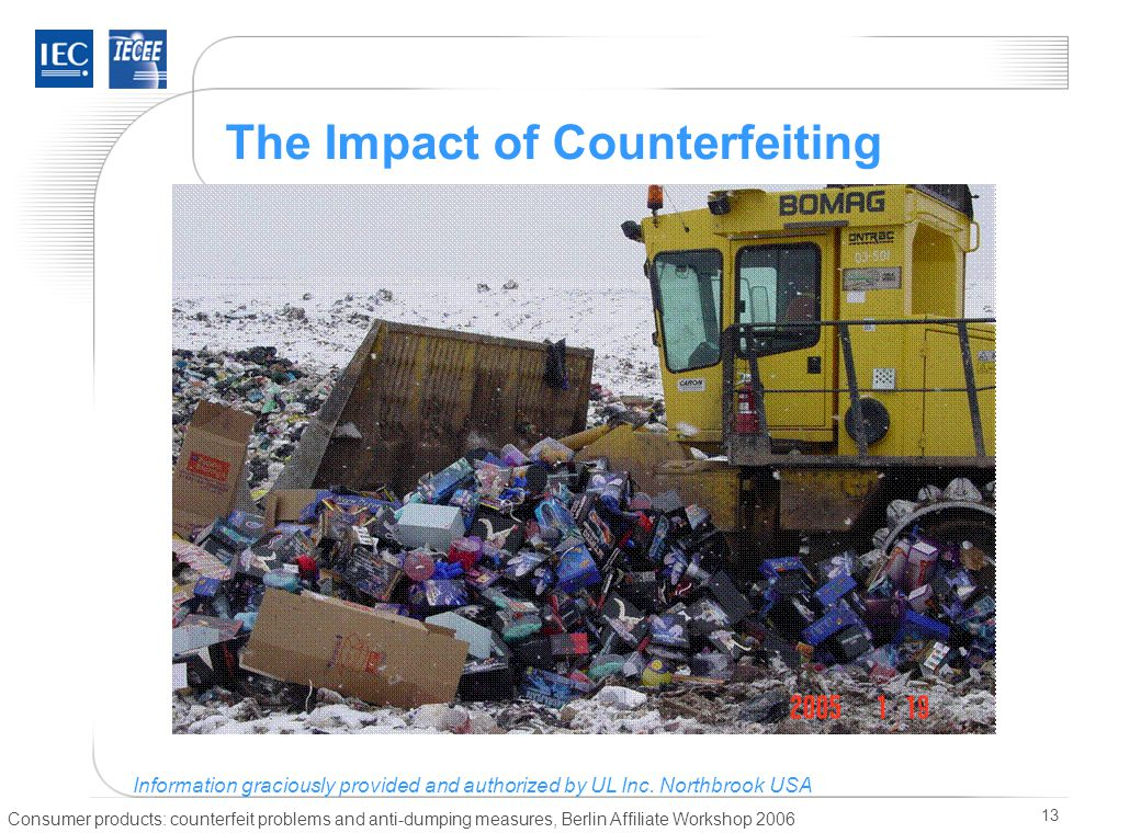 Consumer products: counterfeit problems and anti-dumping measures, Berlin Affiliate Workshop 2006 13 The Impact of Counterfeiting Information gracious