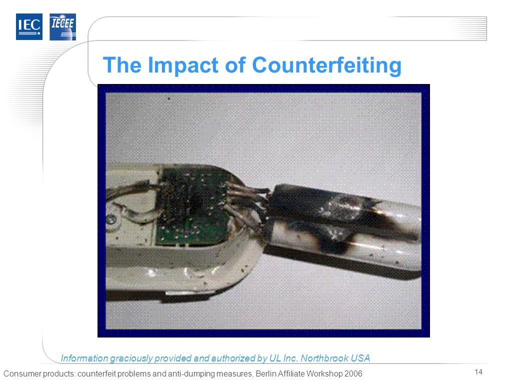 Consumer products: counterfeit problems and anti-dumping measures, Berlin Affiliate Workshop 2006 14 The Impact of Counterfeiting Information gracious