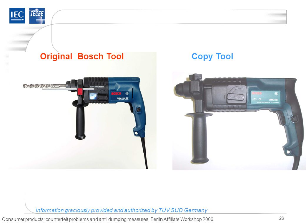 Consumer products: counterfeit problems and anti-dumping measures, Berlin Affiliate Workshop 2006 26 Copy ToolOriginal Bosch Tool Information gracious