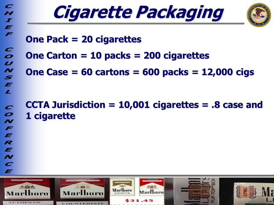 Cigarette Packaging One Pack = 20 cigarettes One Carton = 10 packs = 200 cigarettes One Case = 60 cartons = 600 packs = 12,000 cigs CCTA Jurisdiction = 10,001 cigarettes =.8 case and 1 cigarette