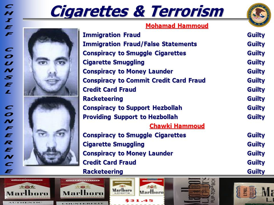 Cigarettes & Terrorism Mohamad Hammoud Immigration FraudGuilty Immigration Fraud/False StatementsGuilty Conspiracy to Smuggle CigarettesGuilty Cigarette SmugglingGuilty Conspiracy to Money LaunderGuilty Conspiracy to Commit Credit Card FraudGuilty Credit Card FraudGuilty RacketeeringGuilty Conspiracy to Support HezbollahGuilty Providing Support to HezbollahGuilty Chawki Hammoud Conspiracy to Smuggle CigarettesGuilty Cigarette SmugglingGuilty Conspiracy to Money LaunderGuilty Credit Card FraudGuilty RacketeeringGuilty