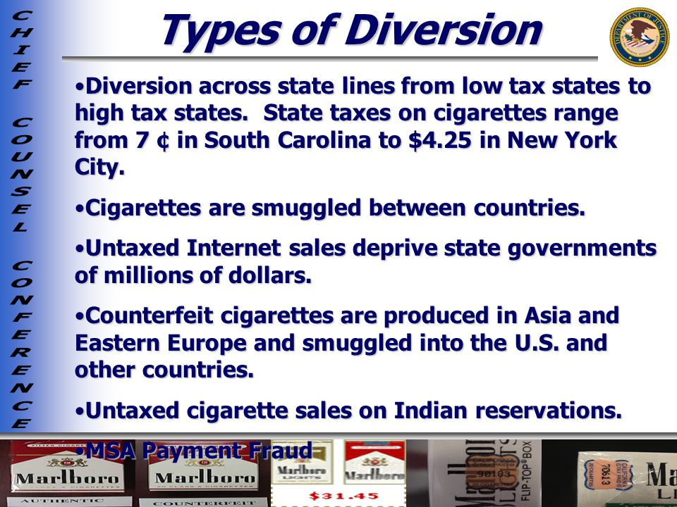 Types of Diversion Diversion across state lines from low tax states to high tax states.