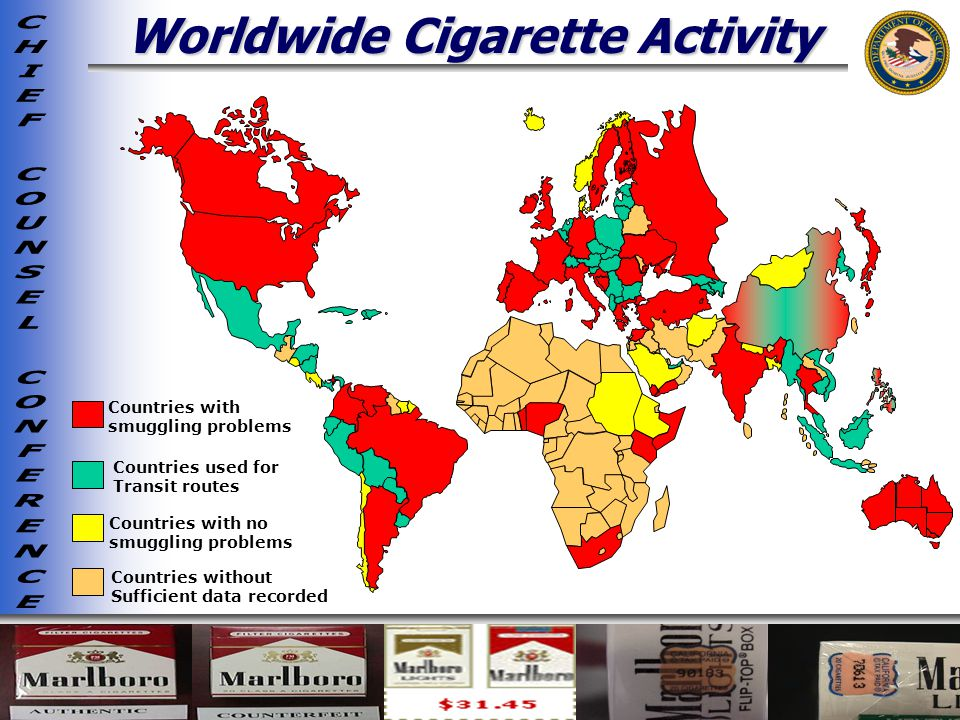 Worldwide Cigarette Activity Countries with smuggling problems Countries with no smuggling problems Countries used for Transit routes Countries without Sufficient data recorded