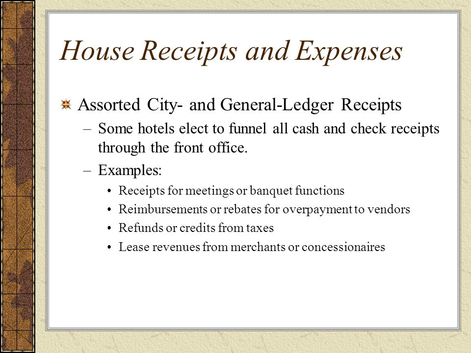 Assorted House Paid-outs Front office cashier acts as a depository for the accounting department and also as the accounting department's disbursing agent.