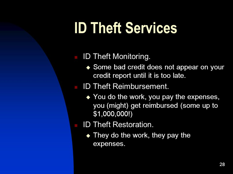 28 ID Theft Services ID Theft Monitoring.