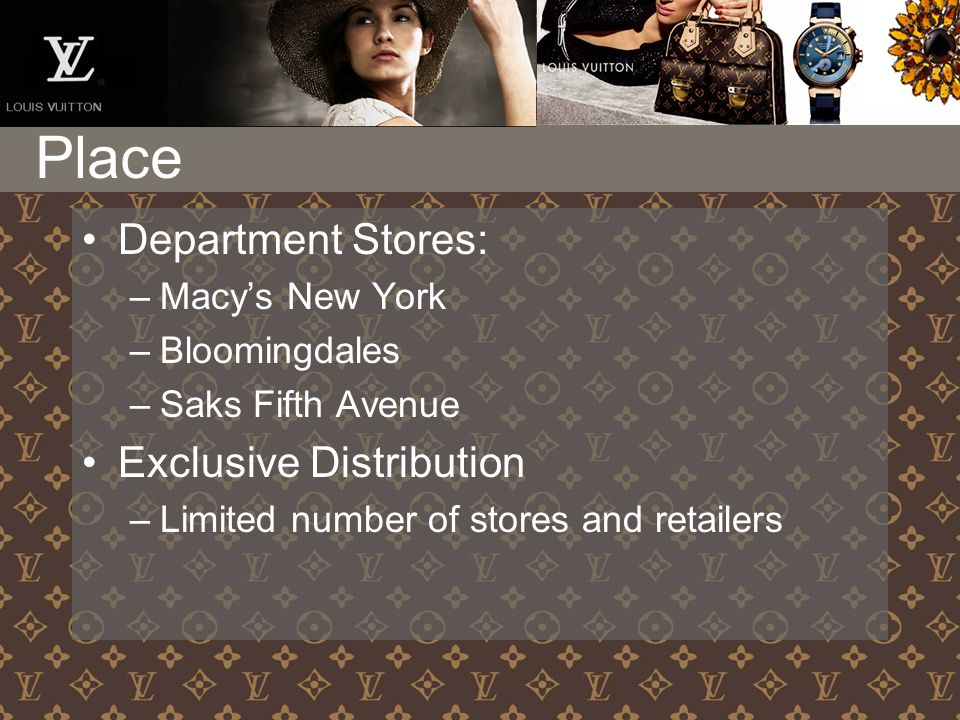 Department Stores: –Macy's New York –Bloomingdales –Saks Fifth Avenue Exclusive Distribution –Limited number of stores and retailers Place
