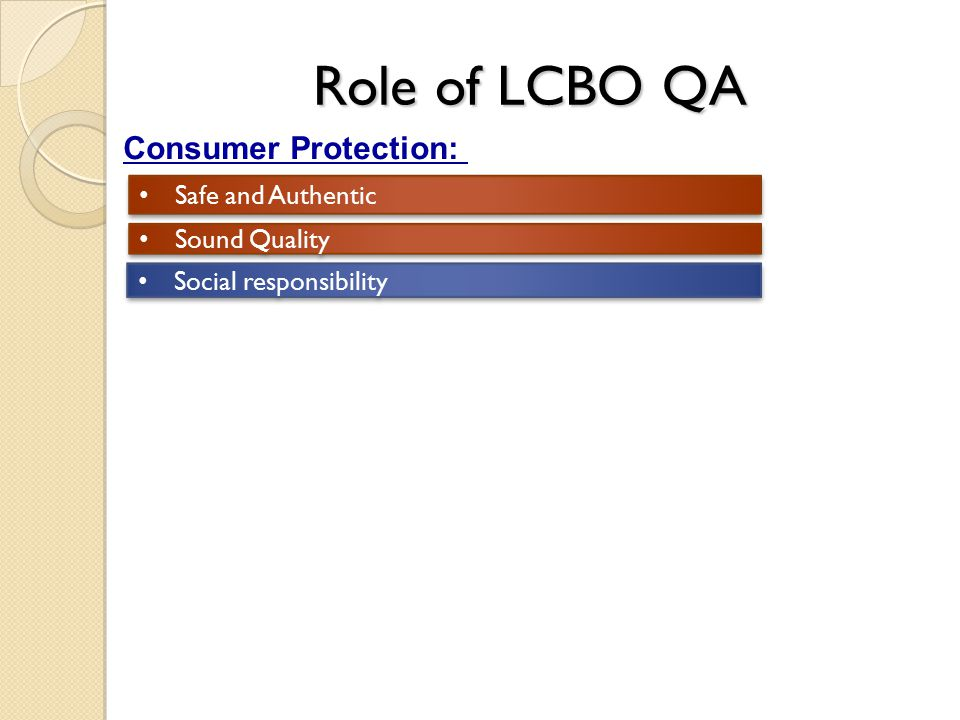 Role of LCBO QA Consumer Protection: Safe and Authentic Sound Quality Social responsibility