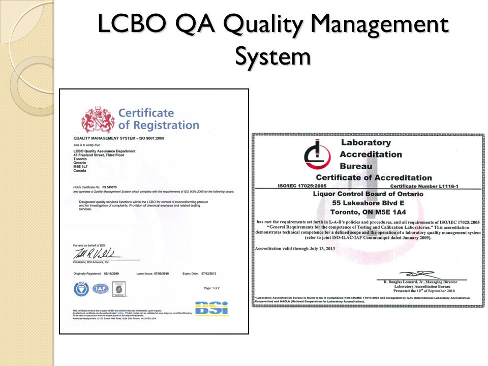 LCBO QA Quality Management System