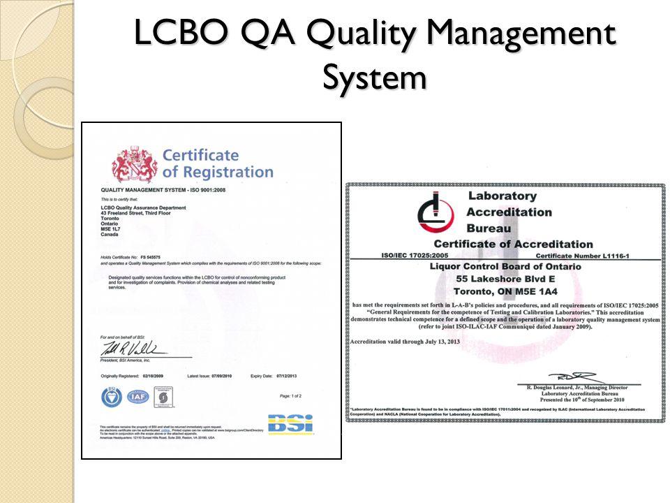 LCBO QA Quality Management System
