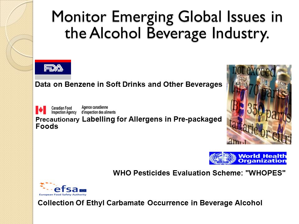 Monitor Emerging Global Issues in the Alcohol Beverage Industry.