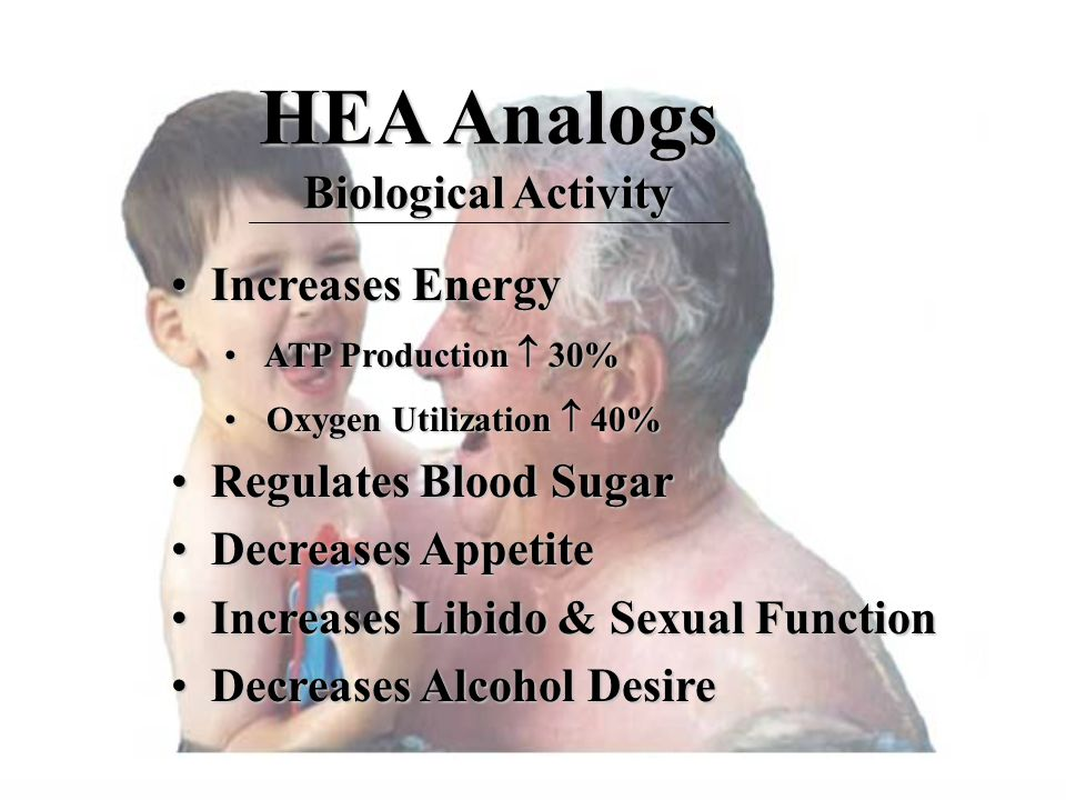 HEA Analogs Biological Activity Increases EnergyIncreases Energy ATP Production  30% ATP Production  30% Oxygen Utilization  40% Oxygen Utilization  40% Regulates Blood SugarRegulates Blood Sugar Decreases AppetiteDecreases Appetite Increases Libido & Sexual FunctionIncreases Libido & Sexual Function Decreases Alcohol DesireDecreases Alcohol Desire