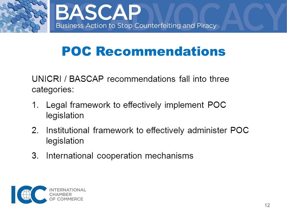 UNICRI / BASCAP recommendations fall into three categories: 1.Legal framework to effectively implement POC legislation 2.Institutional framework to effectively administer POC legislation 3.International cooperation mechanisms POC Recommendations 12