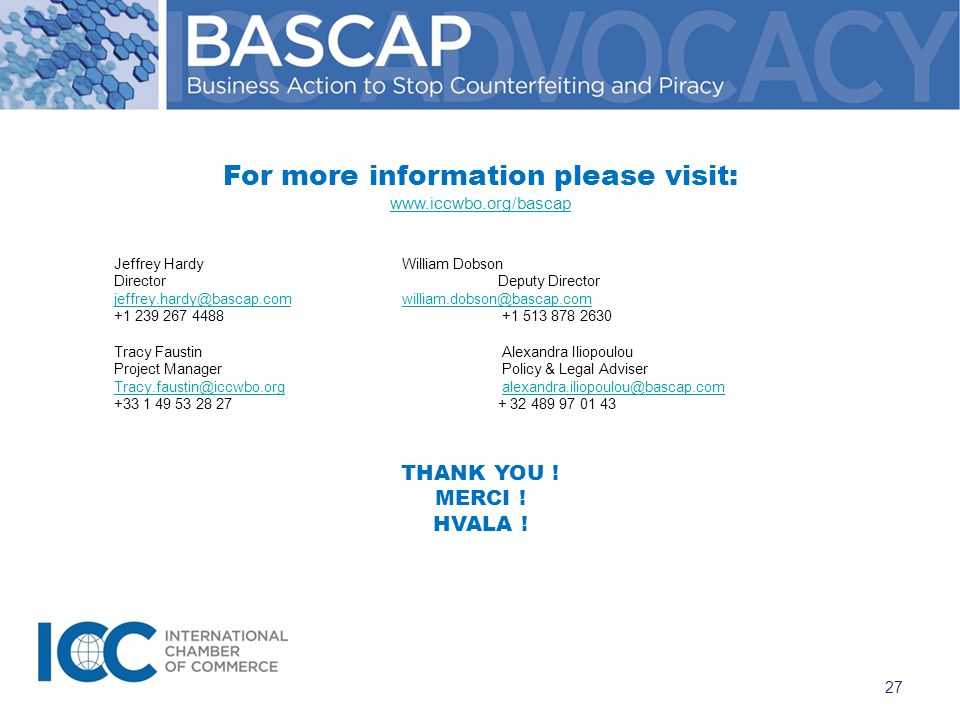 For more information please visit: www.iccwbo.org/bascap Jeffrey HardyWilliam Dobson DirectorDeputy Director jeffrey.hardy@bascap.comwilliam.dobson@bascap.com +1 239 267 4488 +1 513 878 2630 Tracy Faustin Alexandra Iliopoulou Project Manager Policy & Legal Adviser Tracy.faustin@iccwbo.orgTracy.faustin@iccwbo.org alexandra.iliopoulou@bascap.comalexandra.iliopoulou@bascap.com +33 1 49 53 28 27 + 32 489 97 01 43 THANK YOU .