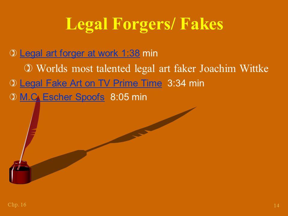 Chp. 16 14 Legal Forgers/ Fakes  Legal art forger at work 1:38 min Legal art forger at work 1:38  Worlds most talented legal art faker Joachim Wittk
