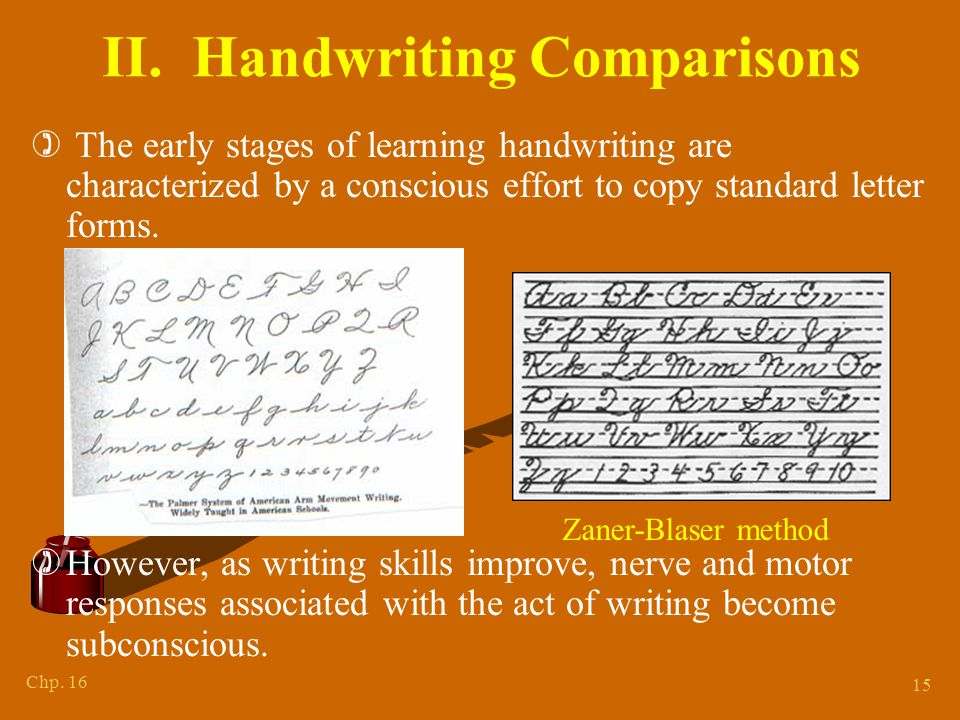 Chp. 16 15 II. Handwriting Comparisons ) The early stages of learning handwriting are characterized by a conscious effort to copy standard letter form