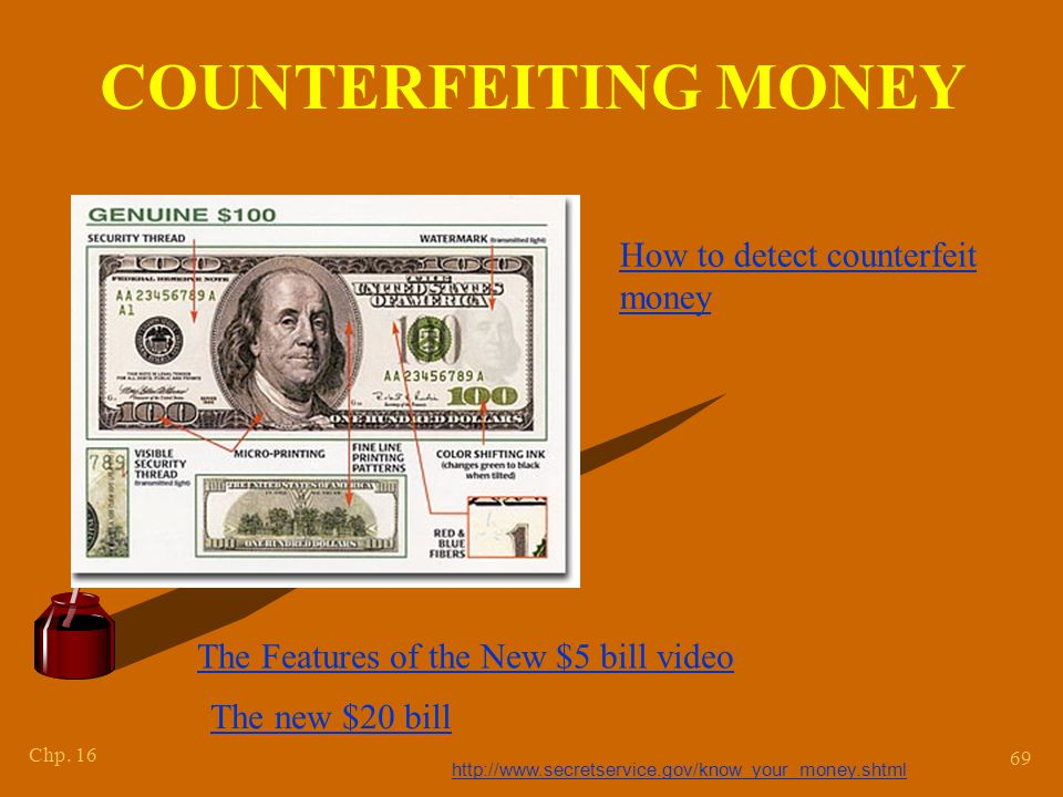 Chp. 16 69 COUNTERFEITING MONEY http://www.secretservice.gov/know_your_money.shtml How to detect counterfeit money The Features of the New $5 bill vid