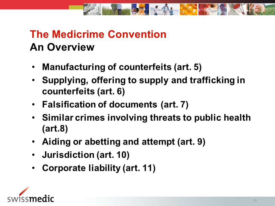 13 Manufacturing of counterfeits (art.