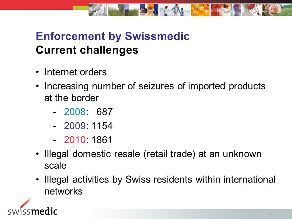 26 Internet orders Increasing number of seizures of imported products at the border -2008: 687 -2009: 1154 -2010: 1861 Illegal domestic resale (retail trade) at an unknown scale Illegal activities by Swiss residents within international networks Enforcement by Swissmedic Current challenges